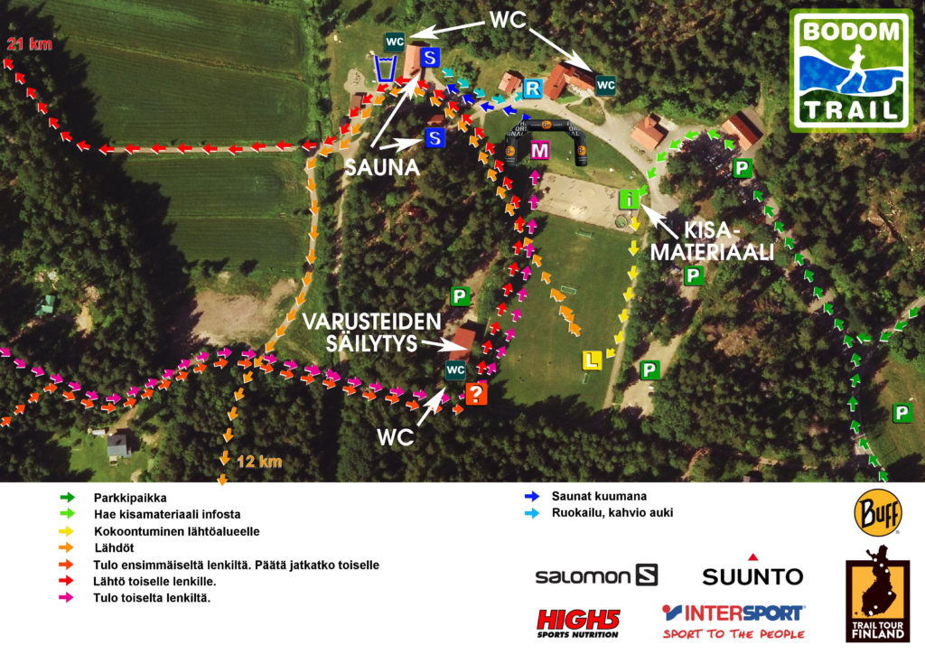 Bodom Trail kisakeskuksen kartta